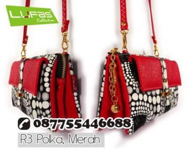 dompet lufas polkadot R3 merah 1