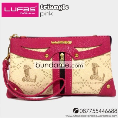 dompet lufas triangle pink
